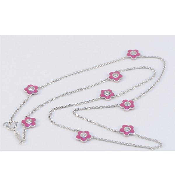 Date: 2010's, 18k White Gold, Enamel and Diamond stone set Necklace (Flamingo Magic) by Lilly Shapiro, SHAPIRO & Co since1979 - image 1