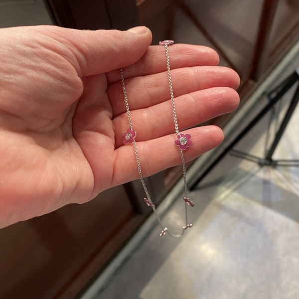 Date: 2010's, 18k White Gold, Enamel and Diamond stone set Necklace (Flamingo Magic) by Lilly Shapiro, SHAPIRO & Co since1979 - image 2