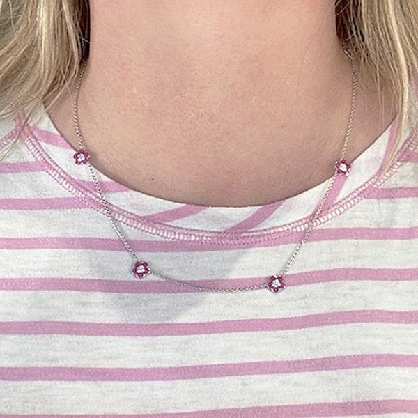 Date: 2010's, 18k White Gold, Enamel and Diamond stone set Necklace (Flamingo Magic) by Lilly Shapiro, SHAPIRO & Co since1979 - image 3