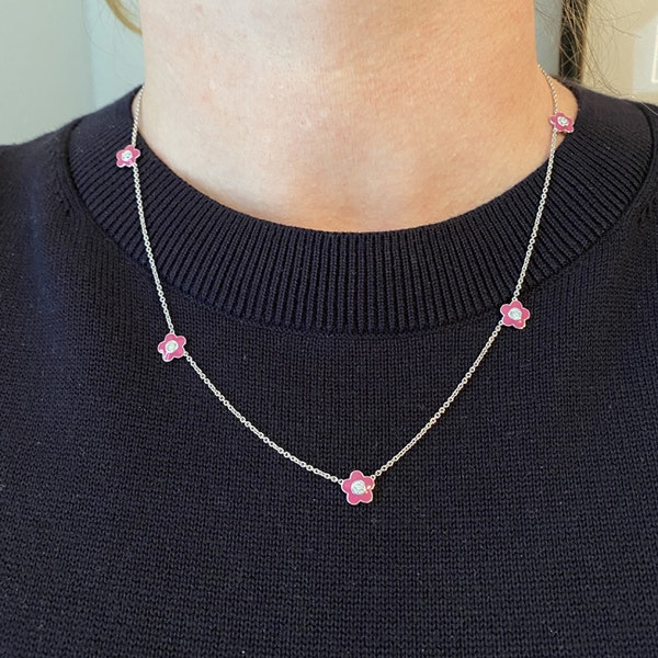 Date: 2010's, 18k White Gold, Enamel and Diamond stone set Necklace (Flamingo Magic) by Lilly Shapiro, SHAPIRO & Co since1979 - image 7