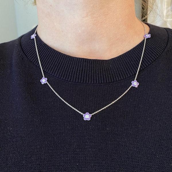 Date: 2010's, 18k White Gold, Enamel and Diamond stone set Necklace (Flamingo Magic) by Lilly Shapiro, SHAPIRO & Co since1979 - image 8