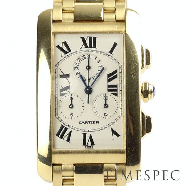 Cartier Tank Américaine Chronograph, 18k Yellow Gold, Gents, 26x45mm - image 1