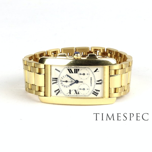 Cartier Tank Américaine Chronograph, 18k Yellow Gold, Gents, 26x45mm - image 3