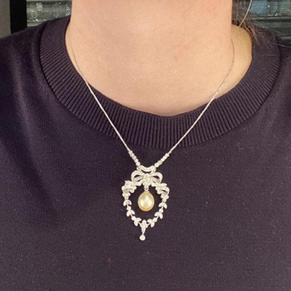 1970's, 18k White Gold, Brilliant Cut Diamond and South Sea Pearl stone set Pendant, SHAPIRO & Co since1979 - image 1
