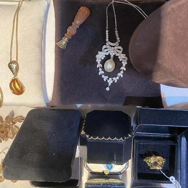 1970's, 18k White Gold, Brilliant Cut Diamond and South Sea Pearl stone set Pendant, SHAPIRO & Co since1979 - image 5