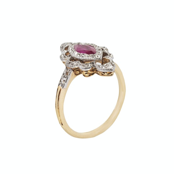 Art Deco Ruby and Diamond Ring - image 2