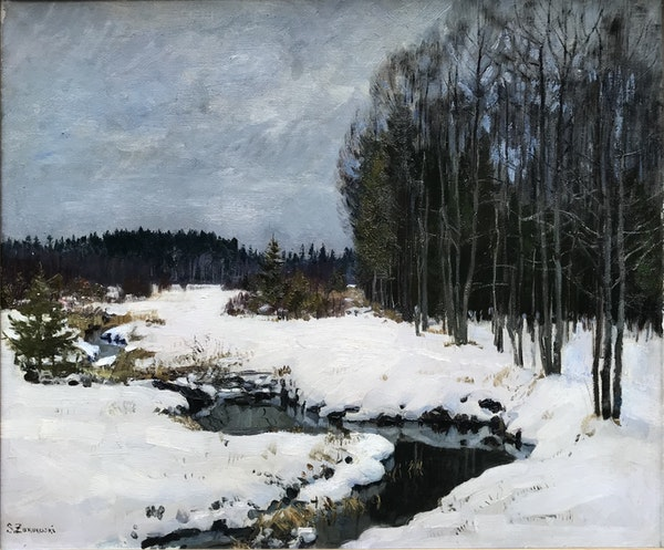 Stanislav Yulianovich Zhukovsky (1873-1944), Winter Landscape in Belovezhskaya Poscha, Oil on Canvas 1934 - image 1