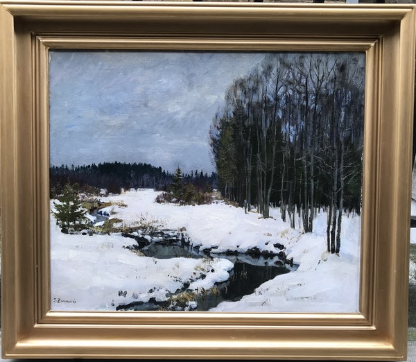 Stanislav Yulianovich Zhukovsky (1873-1944), Winter Landscape in Belovezhskaya Poscha, Oil on Canvas 1934 - image 2