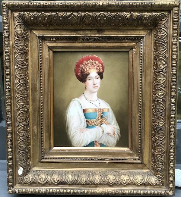 Fedor Liapin, Russian 19th Century, portrait of Sofia Petrovna Svechina on Porcelain Plaque - image 2