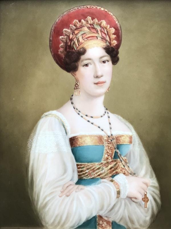 Fedor Liapin, Russian 19th Century, portrait of Sofia Petrovna Svechina on Porcelain Plaque - image 1