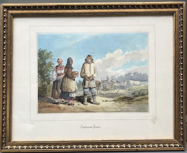 Karl Ivanovich Kollman (1788-1846) Three Peasants, Watercolour - image 2