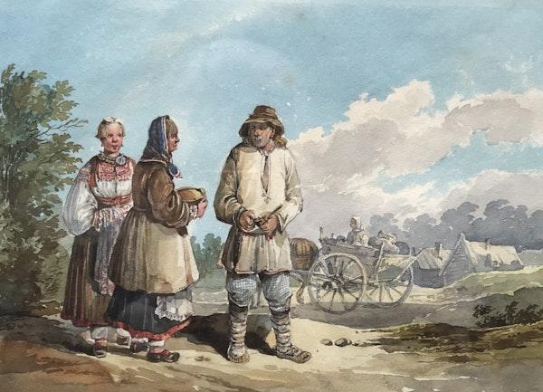 Karl Ivanovich Kollman (1788-1846) Three Peasants, Watercolour - image 1