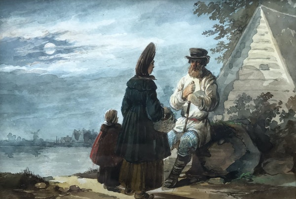 Karl Ivanovich Kollman (1788-1846), A Woman and Child paying a visit to an old Peasant - image 1