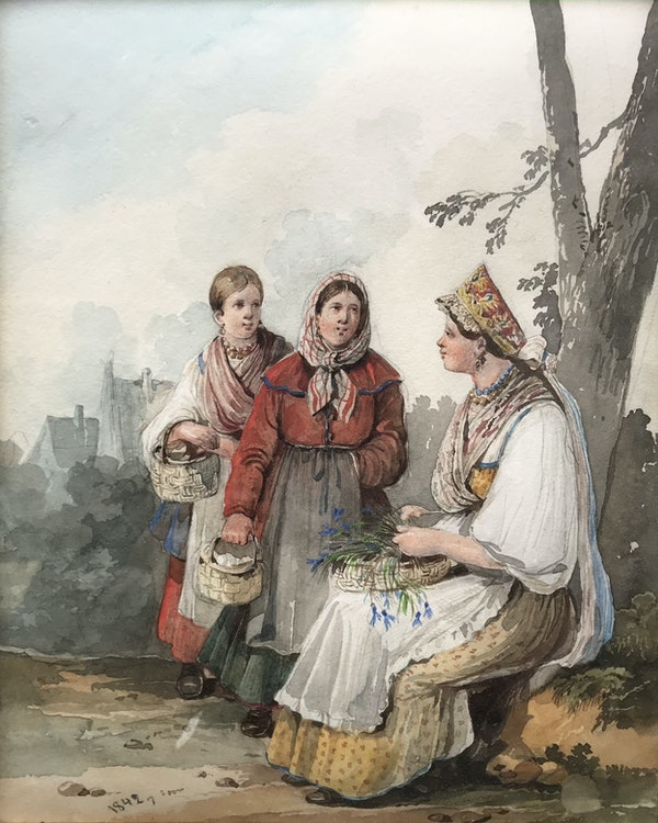 Karl Ivanovich Kollman (Russian 1788-1846). Russian peasants pick up the flowers, watercolour 1842 - image 1