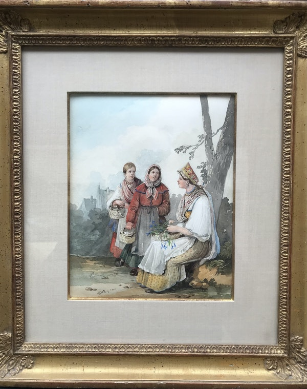Karl Ivanovich Kollman (Russian 1788-1846). Russian peasants pick up the flowers, watercolour 1842 - image 2