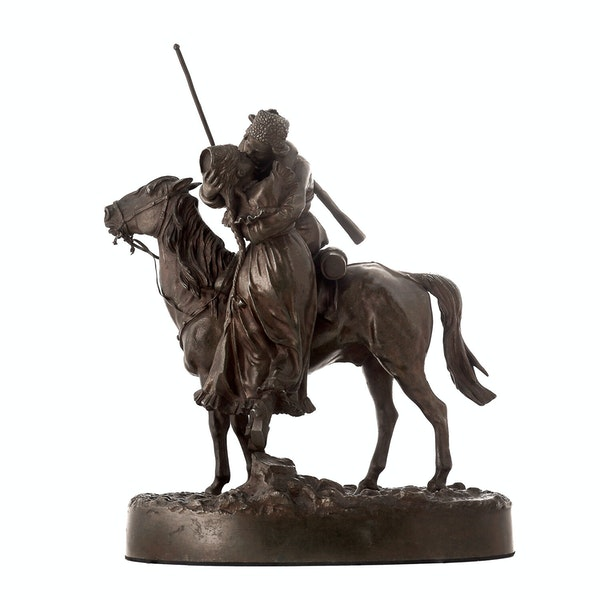 19th Century Russian Bronze, The Cossack's Farewell (Kiss), by Vasiliy Grachev - image 1