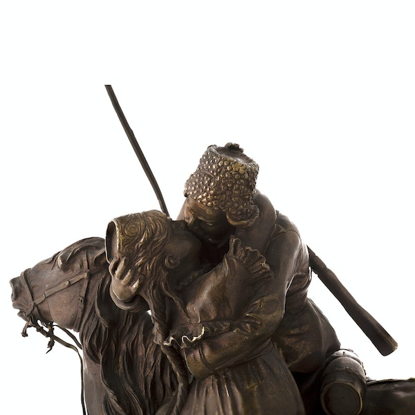 19th Century Russian Bronze, The Cossack's Farewell (Kiss), by Vasiliy Grachev - image 3