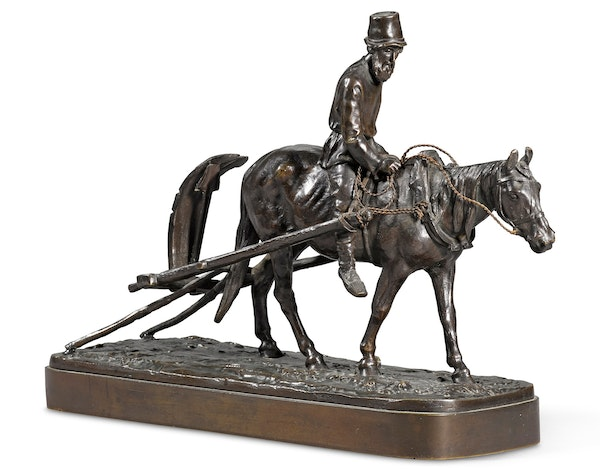 19th Century Russian Bronze, Return from the Fields by Evgeny Lanceray, 1878 - image 1