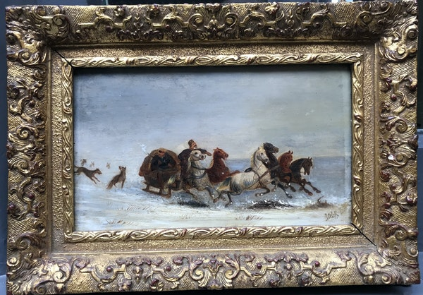 Russian Painting of Wolf Chasing Troika, Oil on Board 1910, By Orloff - image 2