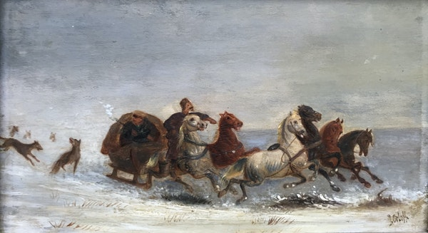 Russian Painting of Wolf Chasing Troika, Oil on Board 1910, By Orloff - image 1