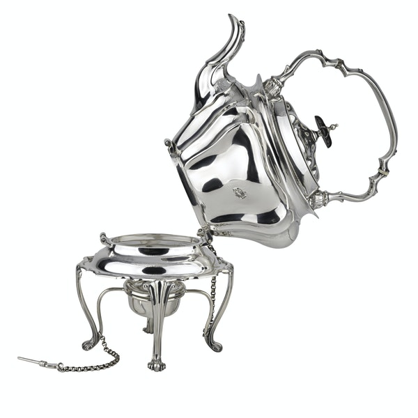 Silver Art Nouveau Kettle on stand with warmer. - image 2