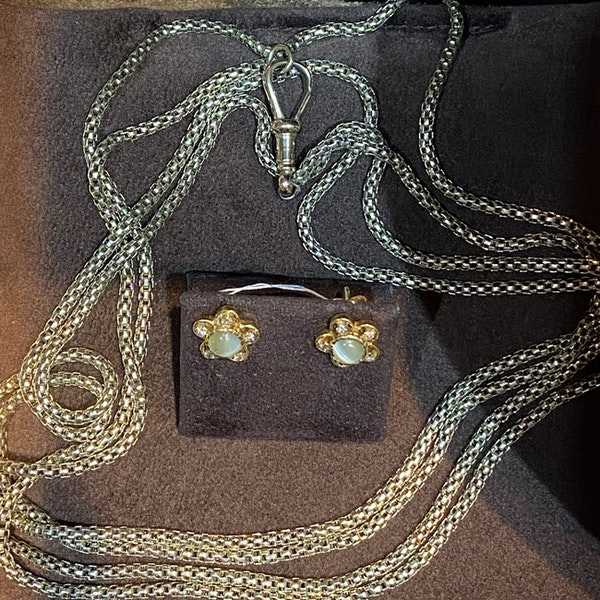 1950's, 18ct Yellow Gold Chrysoberyl Cat's Eye and Diamond stone set Earrings, SHAPIRO & Co since1979 - image 4