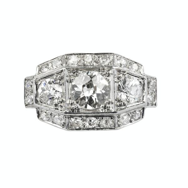 Art Deco,  Diamond three stone Ring - image 1