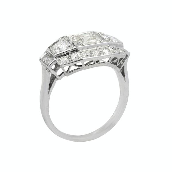 Art Deco,  Diamond three stone Ring - image 2