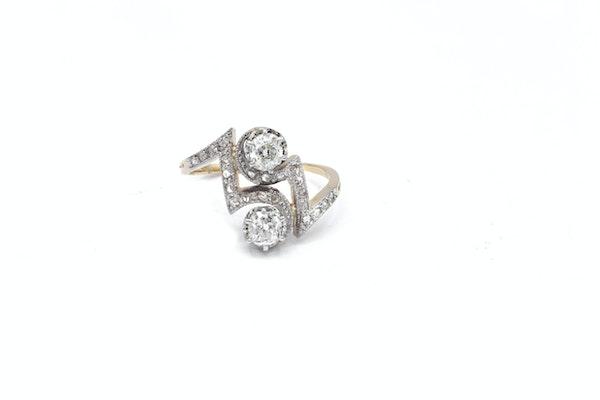 """Art Deco  Diamond """" toi et moi """" two stone Ring - image 1"""