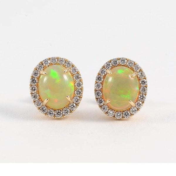 1990's, 14ct Yellow Gold, Opal and Diamond stone set Earrings, SHAPIRO & Co since1979 - image 1