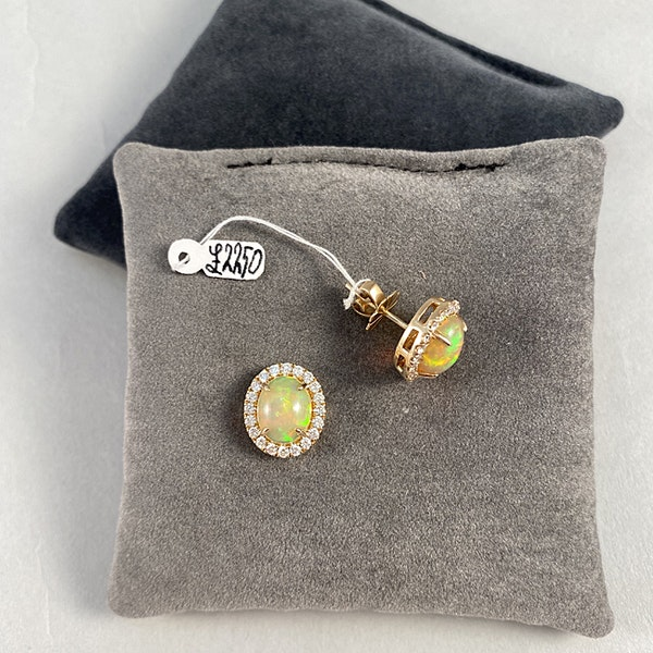 1990's, 14ct Yellow Gold, Opal and Diamond stone set Earrings, SHAPIRO & Co since1979 - image 2