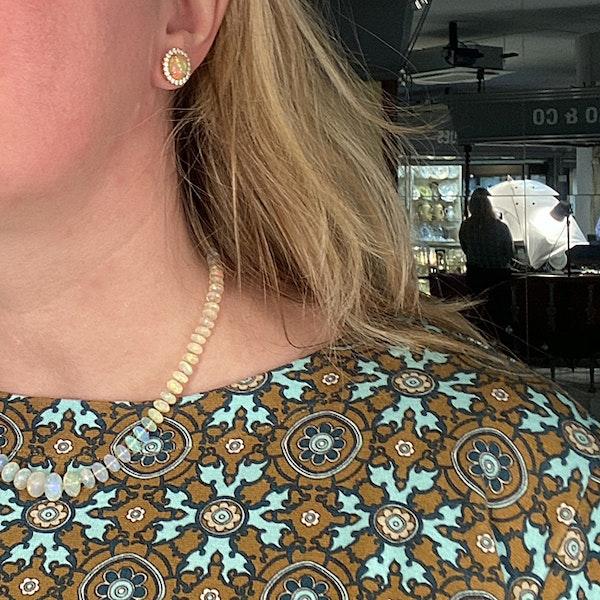 1990's, 14ct Yellow Gold, Opal and Diamond stone set Earrings, SHAPIRO & Co since1979 - image 3
