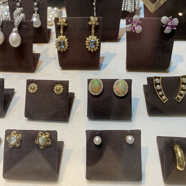 1990's, 14ct Yellow Gold, Opal and Diamond stone set Earrings, SHAPIRO & Co since1979 - image 5