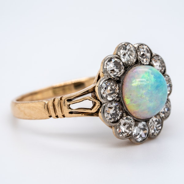 Opal and Diamond Cluster Ring - image 1