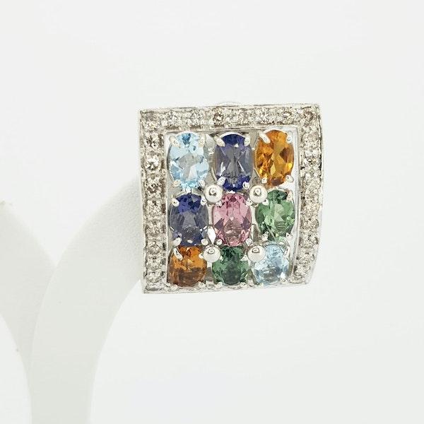 Italian Gemstone and Diamond Earings - image 3