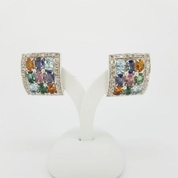 Italian Gemstone and Diamond Earings - image 1