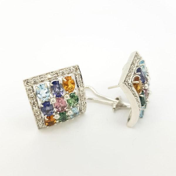 Italian Gemstone and Diamond Earings - image 2