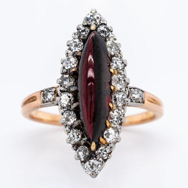 Victorian Cabochon Garnet with Diamond Ring - image 1