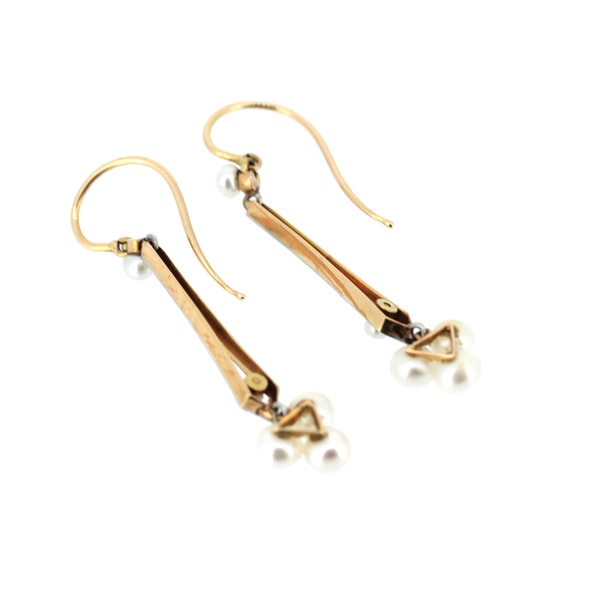 Pearl And Gold Vintage Drop Earrings. S.Greenstein - image 2