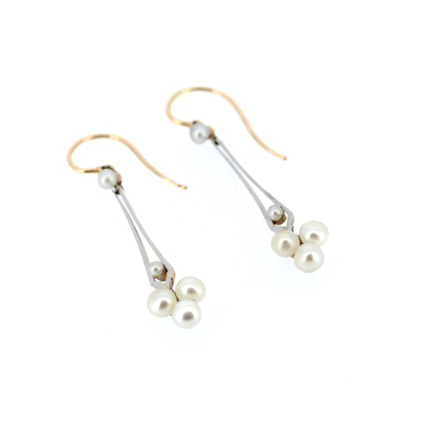 Pearl And Gold Vintage Drop Earrings. S.Greenstein - image 1