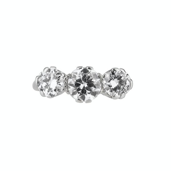 Art Deco three stone diamond ring. Platinum set - image 1