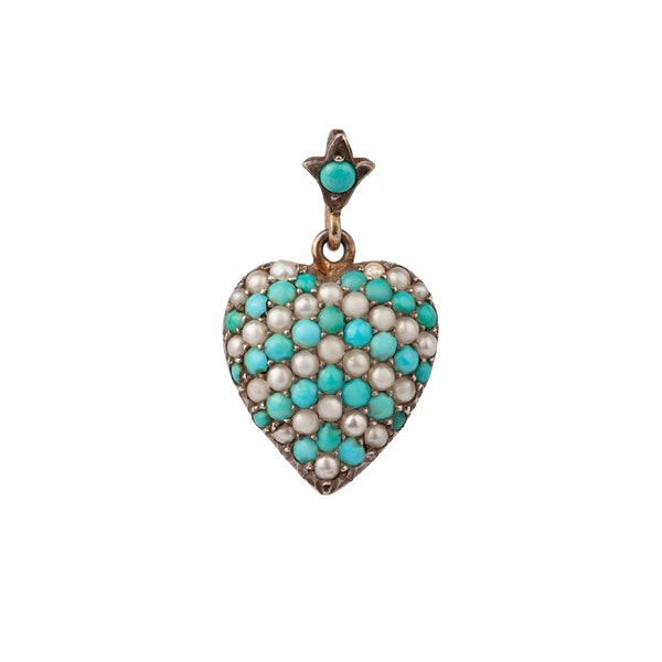 Turquoise and pearl heart pendant - image 1