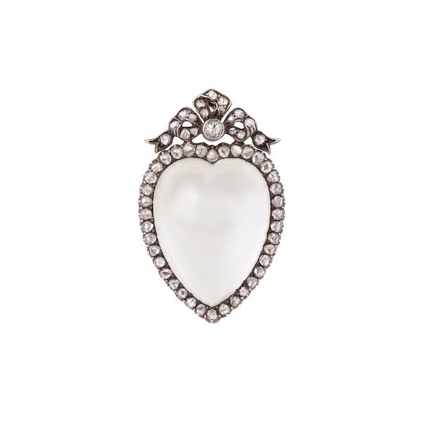 Victorian moonstone diamond brooch/pendant - image 1