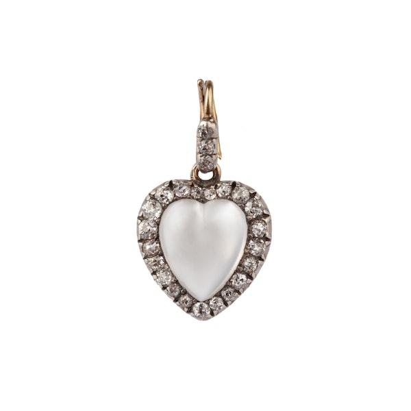 Moonstone diamond heart pendant - image 1