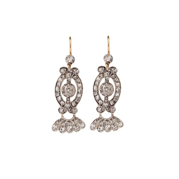 Diamond drop earrings - image 1