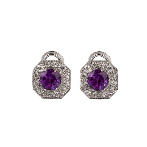 Amethyst and Diamond clip Earrings - image 1