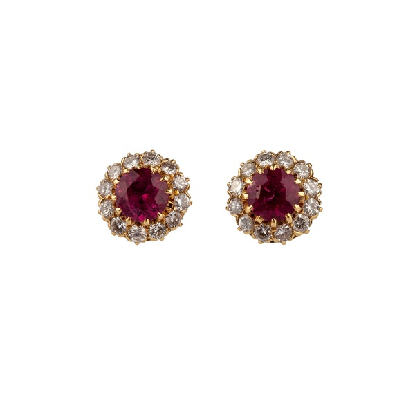 Tourmaline and Diamond Cluster earrings - image 1