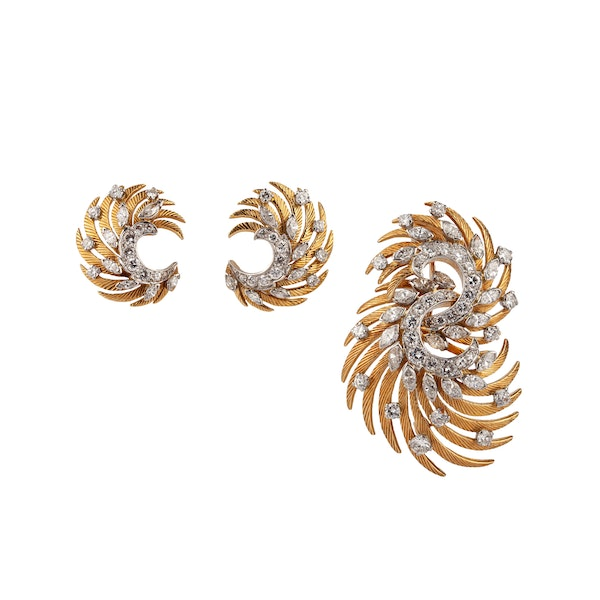 1960's Earrings and Brooch set - image 1