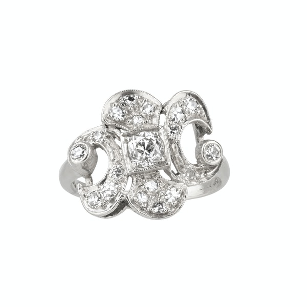 Art Deco Platinum/iridium set  French diamond ring - image 1