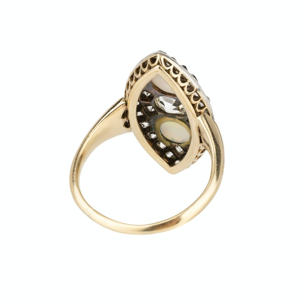 Opal and diamond marquise shaped Victorian ring - image 2